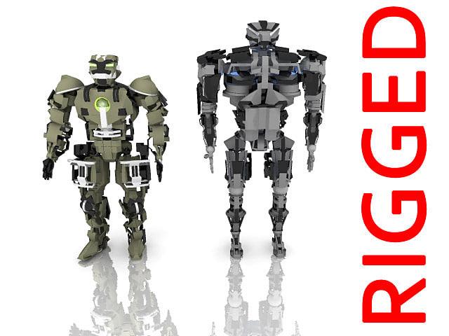 3d model robots skeleton