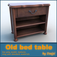 3d old bed table model