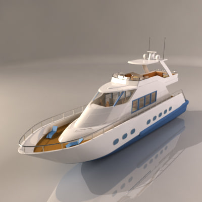 realistic yacht interior 3d model