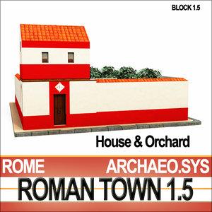 3d model ancient roman house orchard