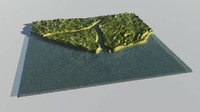 coastal terrain landscape 3d model