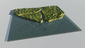 coastal terrain landscape 3d model