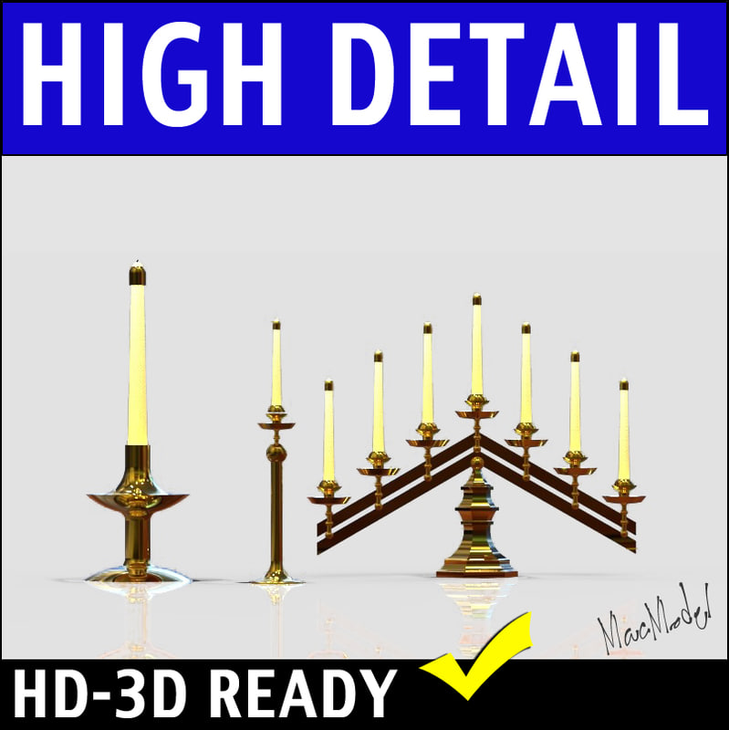 brass candelabra 3d model
