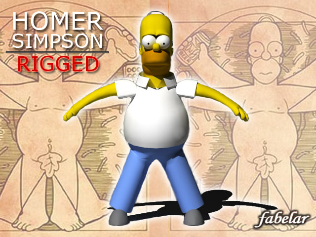 3d homer simpson rigged biped model