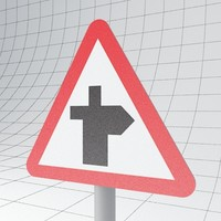 3d model of traffic crossroads - sign
