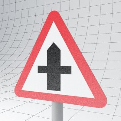3d traffic crossroads - sign