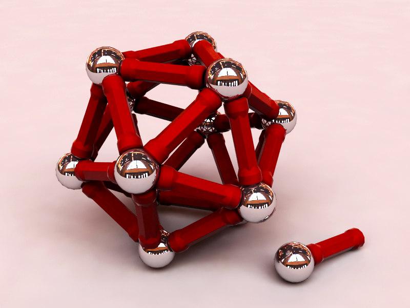 3d model geomag metal ball