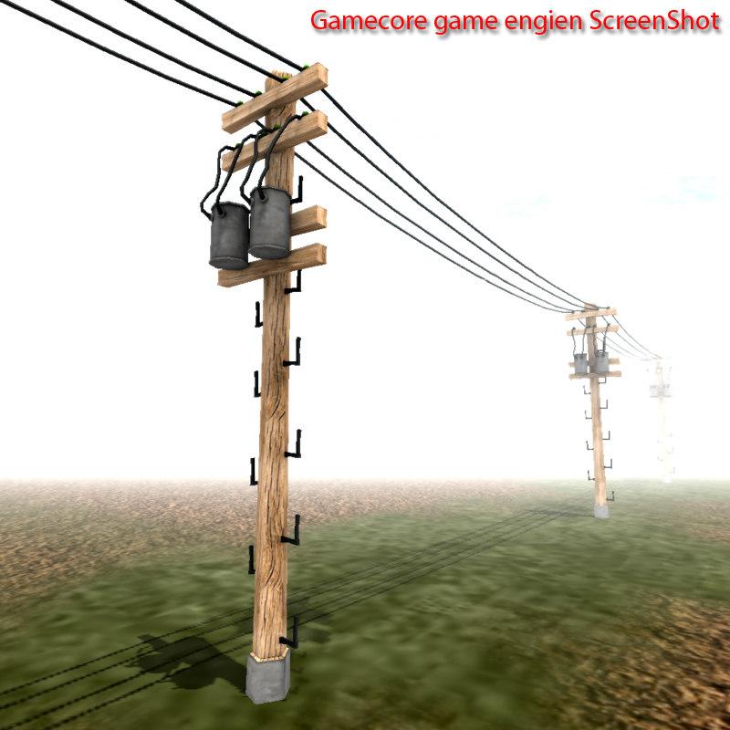 3dsmax telephone power lines pole