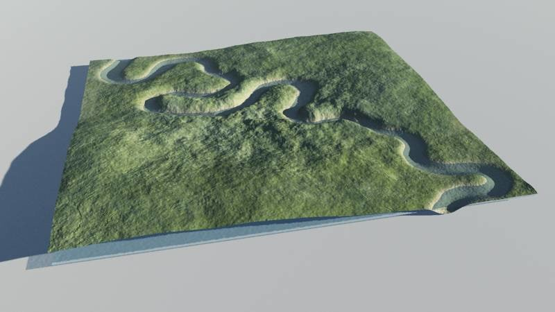 3d model river valley terrain