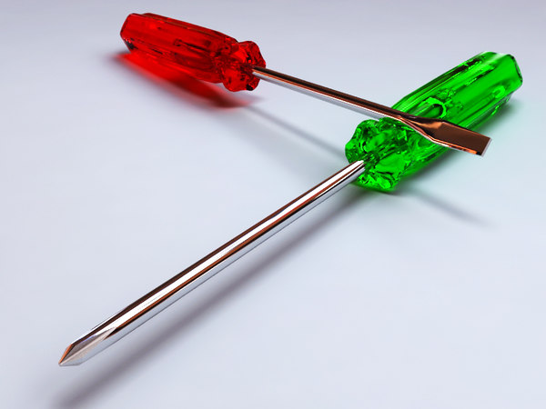 3d screwdriver v-ray materials model