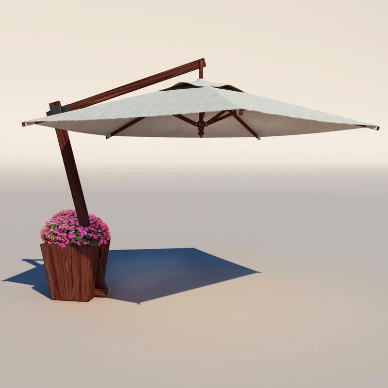 cafe umbrella 3d obj