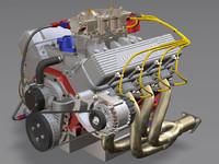 big 572 engine motor 3d max