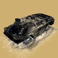 burned brdm3 3d model