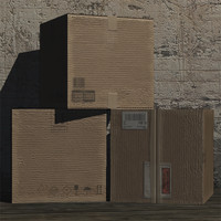 cardboard box prop 3d 3ds