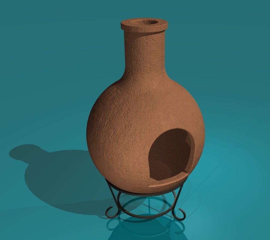 3d model terracotta chiminea