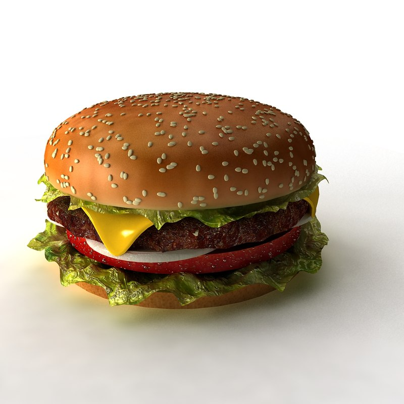 3d hamburger scene