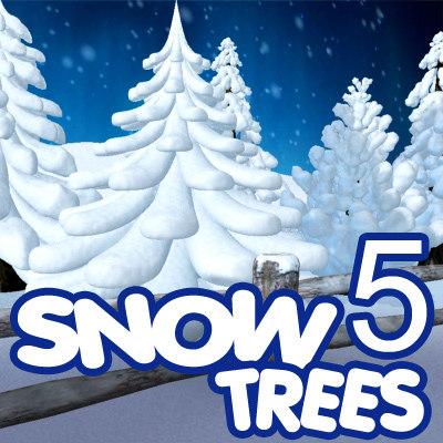 3d model 5 snow tree cartoon