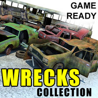 3d ready wrecked car bus model