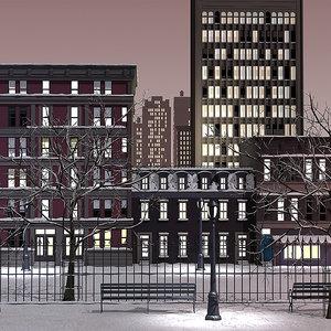3d 3ds snow night street