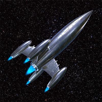 Classic silver rocket ship 3d max for Rocket ship materials