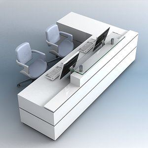 3d model reception desk