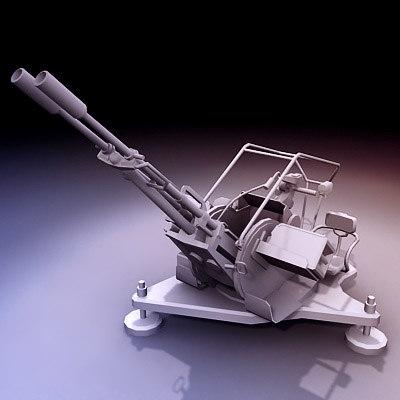 zu-23-2 23mm anti-aircraft gun 3d obj
