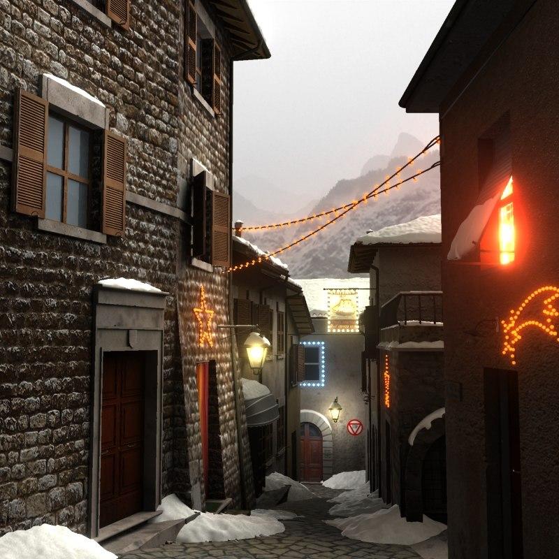max christmas snowy village snow