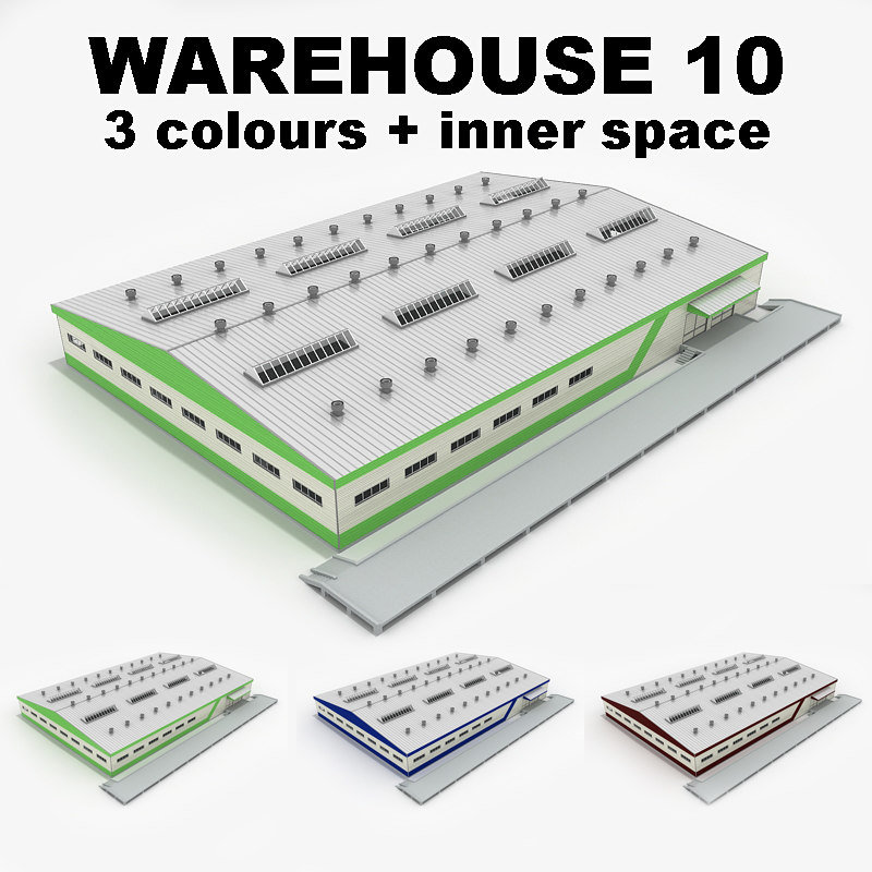 3d model industrial building warehouse 10