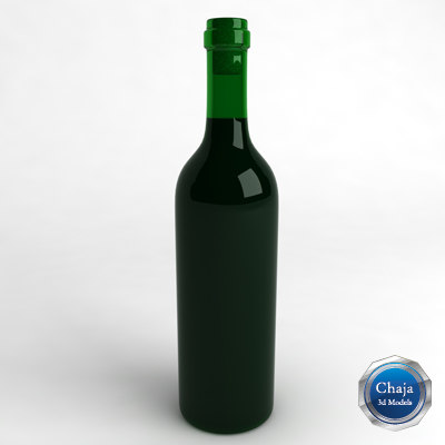 3d bottle wine model
