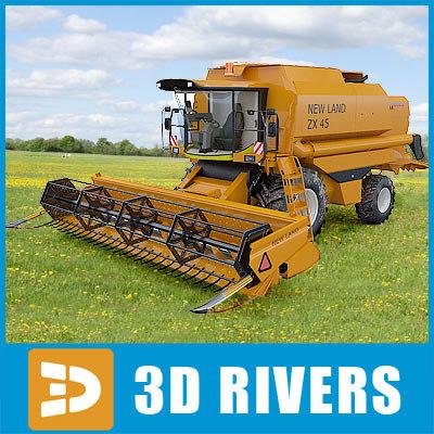 3d model harvesting combine