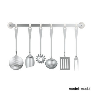 3d cutlery set alessi kitchen model