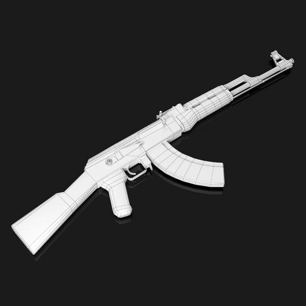 free ak 47 ak47 3d model