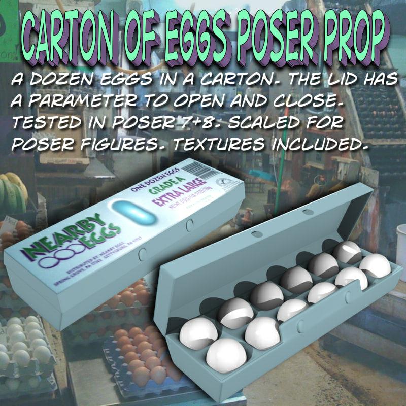 cartonofeggs poser prop eggs 3d pz3