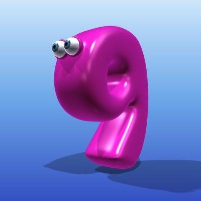 cute cartoon number 3d model