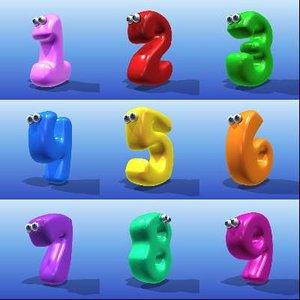 3d cute cartoon number model