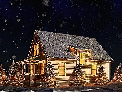 usa christmas house v2 3d model