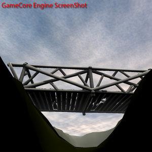 3d span truss bridge model
