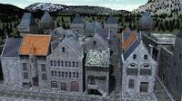medieval houses 3d lwo