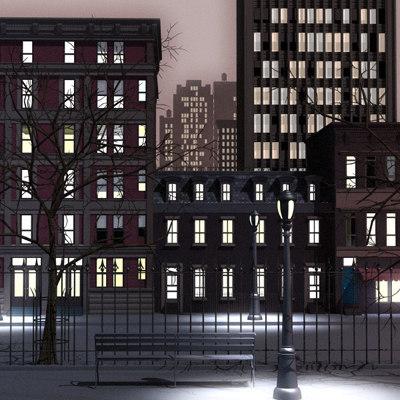 city scene night lighting 3d max