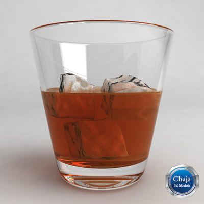 3d model of whiskey glass