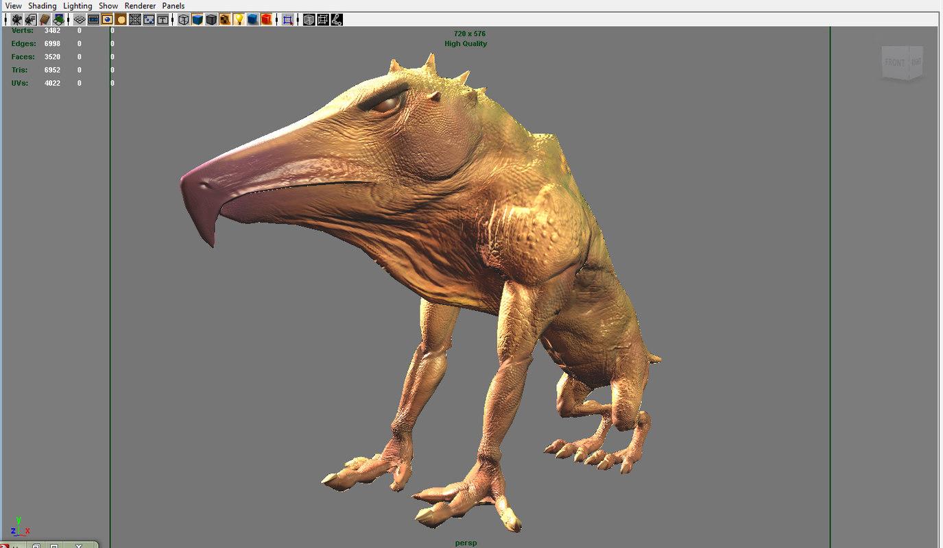 3d humasour creature