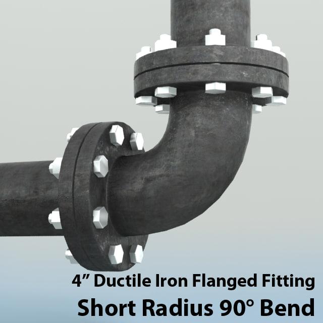 4in short radius bend 3d model