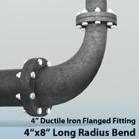 4in long radius reducing 3d max