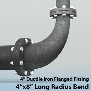 4in long radius reducing 3d max