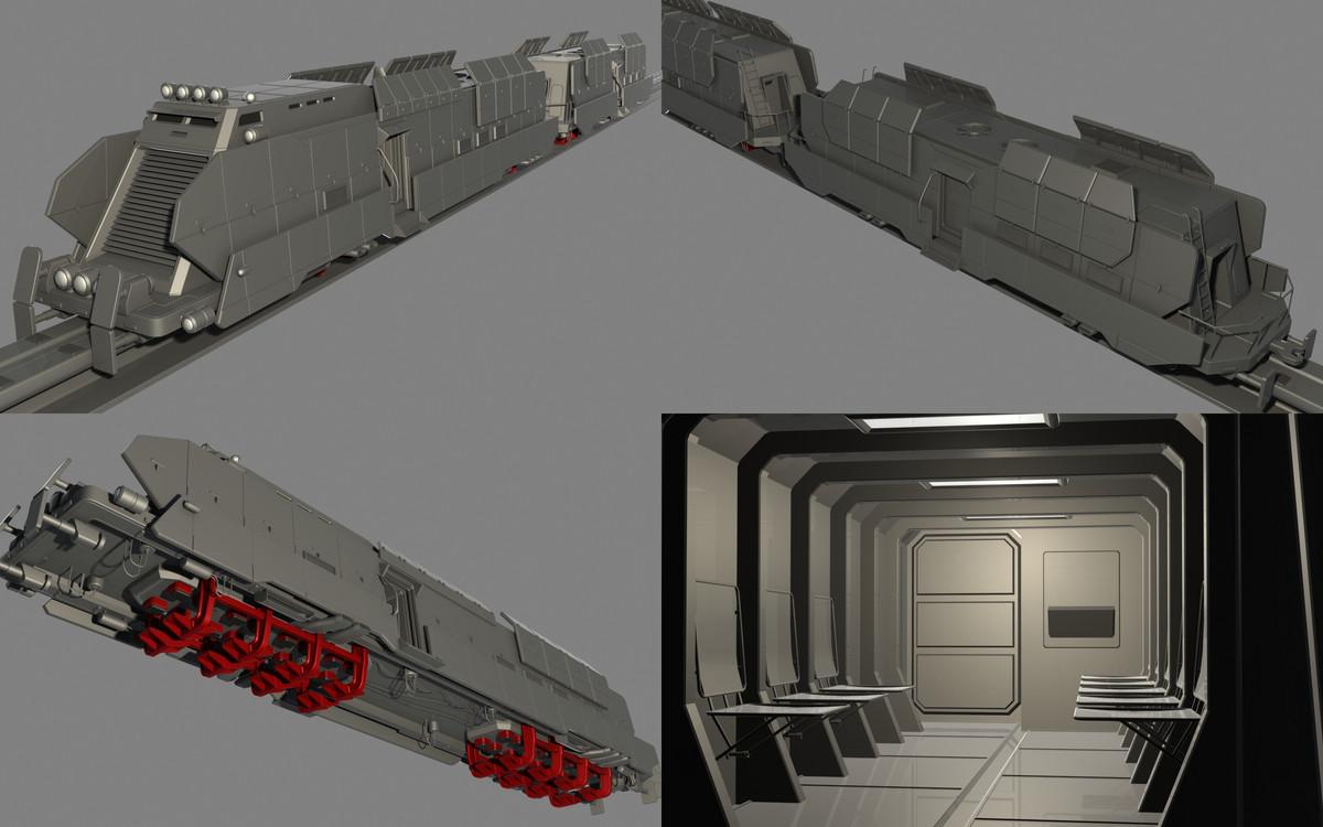 3ds max armored train maglev