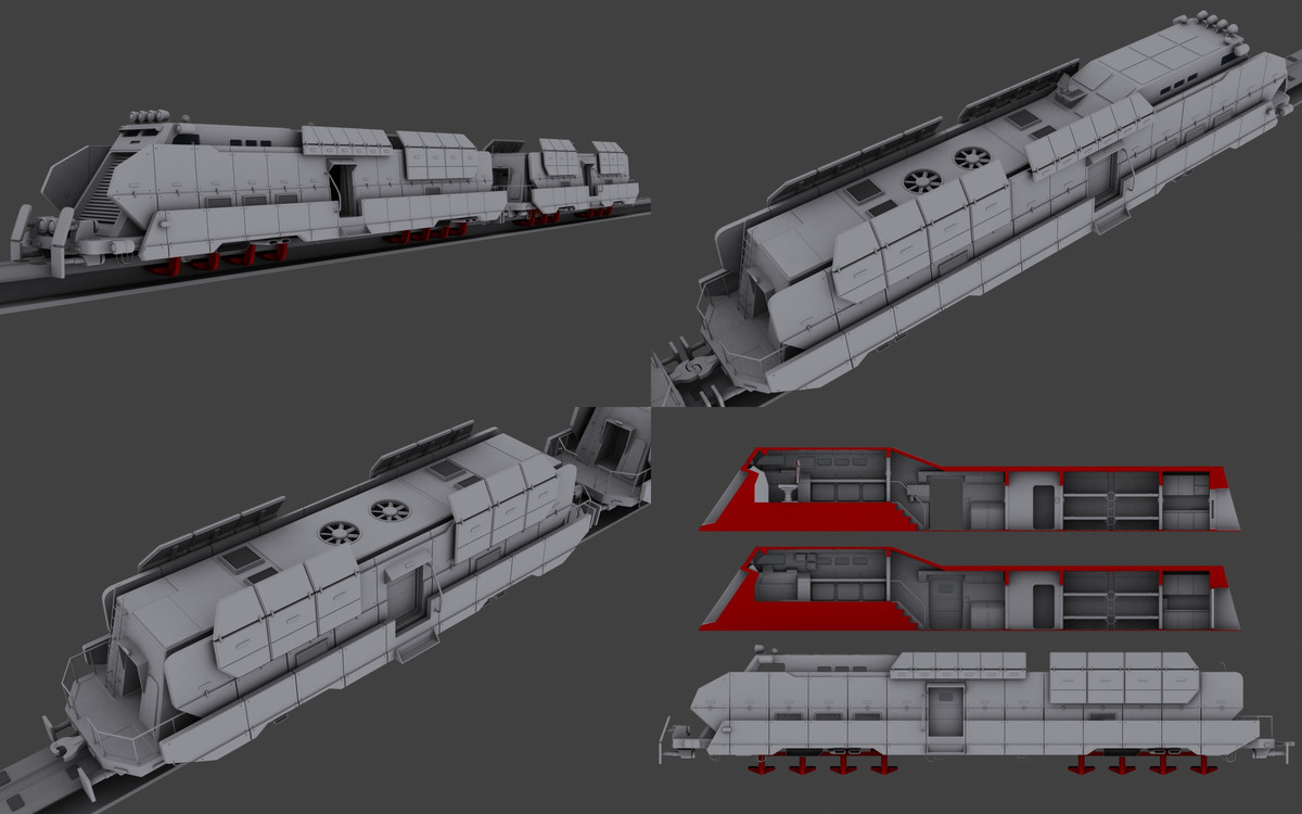 3d model armored train maglev