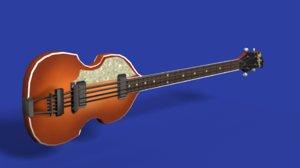 3d model paul höfner bass