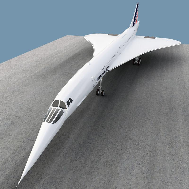 aérospatiale-bac concorde airliner 3d model