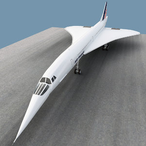 aérospatiale-bac concorde airliner 3d model