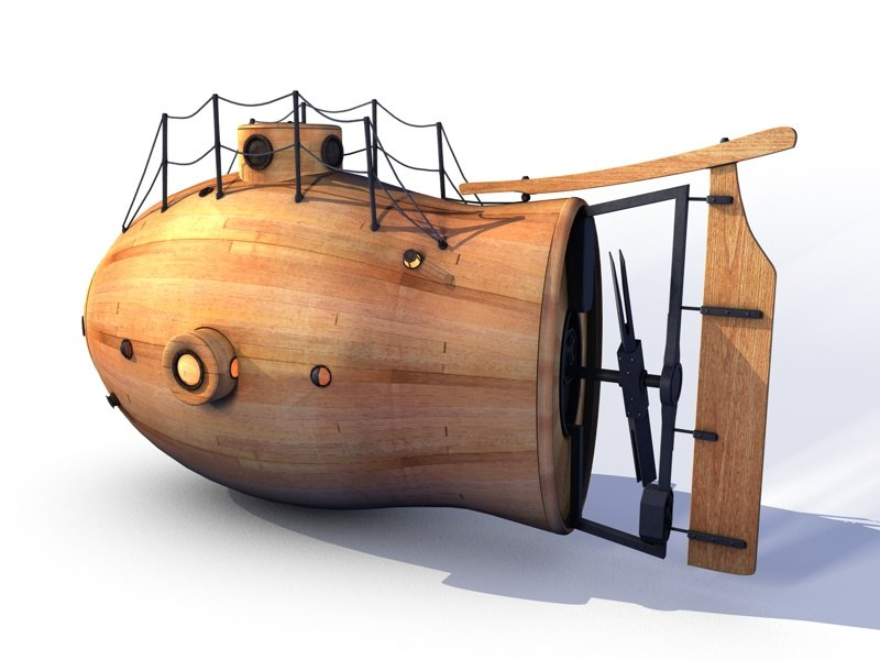 3d steam wooden submarine wood